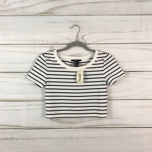 Forever 21 NWT White Black Striped Crop Top